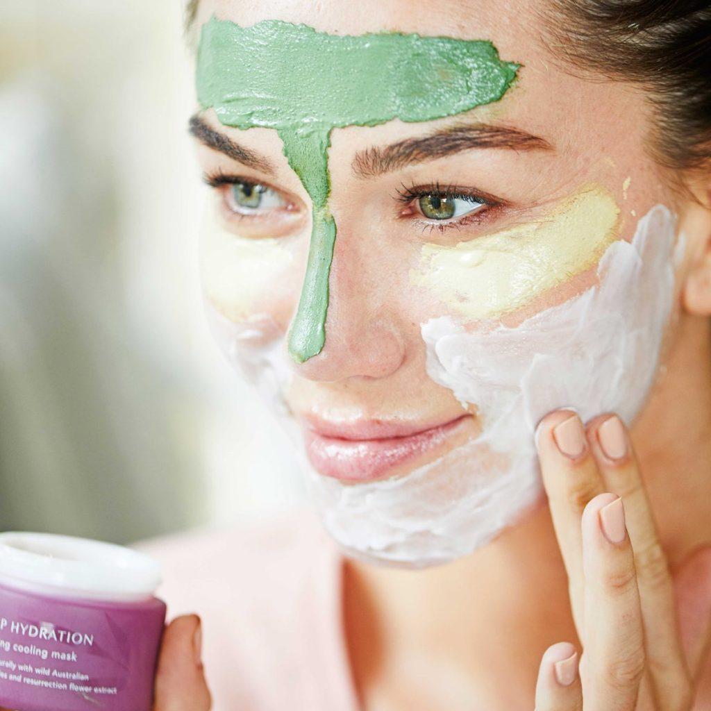 maschera argilla verde rosa bianca